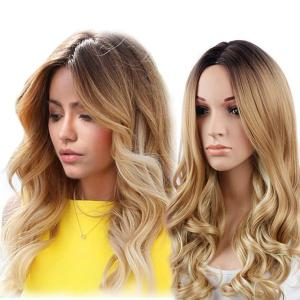 Long Middle Part Colormix Wavy Synthetic Wig
