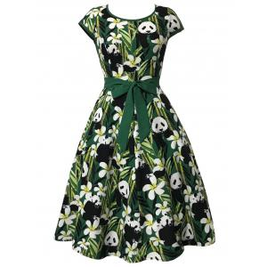 Bamboo and Panda Print Vintage Dress