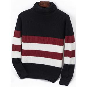 Striped Popcorn Knitted Turtleneck Sweater