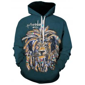 3D Lion Graphic Print Pullover Hoodie