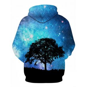 3D Tree Galaxy Print Pullover Hoodie - COLORMIX M