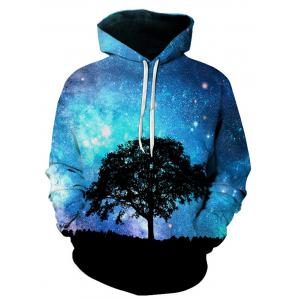 3D Tree Galaxy Print Pullover Hoodie - Colormix - M