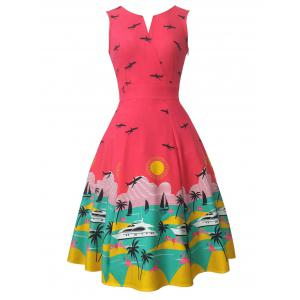 Vintage Sleeveless Printed Swing Dress