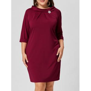 Brooch Boat Neck Plus Size Dress - Wine Red - 2xl