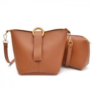 Faux Leather 2 Pieces Crossbody Bag - Brown