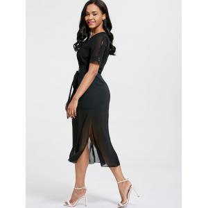 V Neck Belted Chiffon Midi Dress - BLACK S