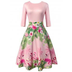 Floral and Flamingo Print Vintage Dress