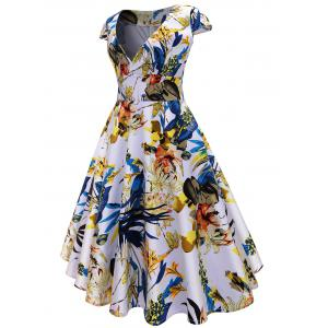 Midi Vintage Floral Surplice A Line Dress -