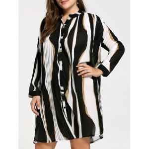 Plus Size Button Up Chiffon Striped Shirt Dress - Black - One Size