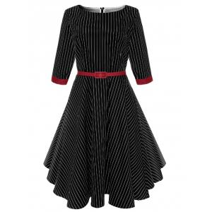 A Line Vintage Pinstriped Belted Dress