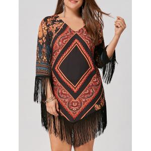 Chiffon Tassel Plus Size Tribal Printed Dress