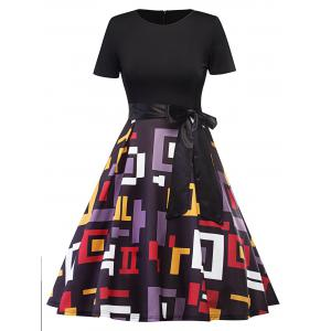 Vintage Geometric Fit and Flare Dress - Black - S
