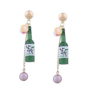 Wine Bottle Faux Pearl Embellished Pendant Earrings