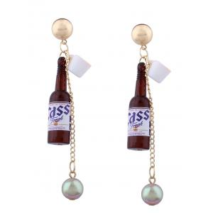 Wine Bottle Faux Pearl Embellished Pendant Earrings - Brown