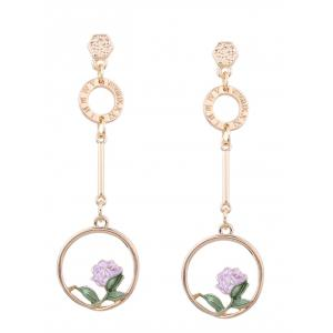 Long Earrings with Flower Hoop Pendant - Pink - L