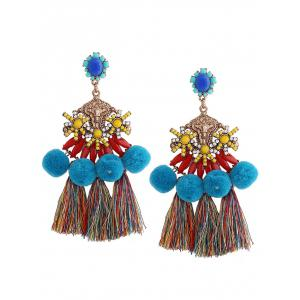 Ethnic Pom Pom Tassel Pendant Earrings