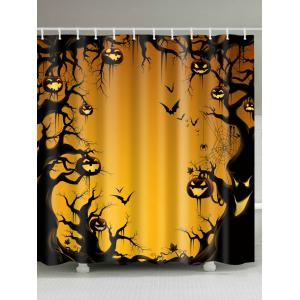 Halloween Trees Pumpkin Print Fabric Waterproof Bathroom Shower Curtain - Pearl Kumquat - W71 Inch * L79 Inch