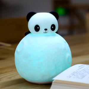 Color Change Panda Moon Surface Shape Night Light - White - S