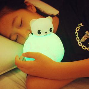 Color Change Remote Control Bear Moon Night Light - WHITE