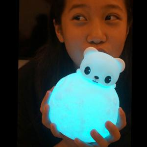 Color Change Remote Control Bear Moon Night Light - White - S