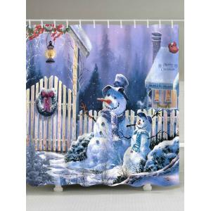 Merry Christmas Snowmen Print Fabric Waterproof Bathroom Shower Curtain