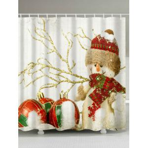 Christmas Snowman Print Fabric Waterproof Bathroom Shower Curtain