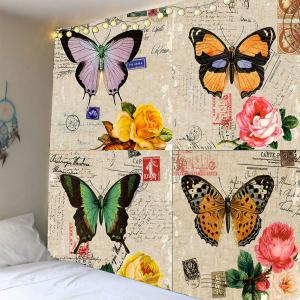 Home Decor Flowers Butterflies Vintage Waterproof Tapestry - Acu Camouflage - W79 Inch * L79 Inch