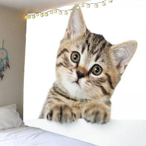 Waterproof Wall Art Pet Cat Printed Tapestry - Gray - W59 Inch * L51 Inch