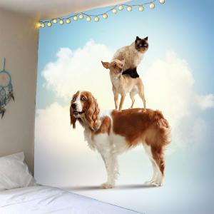 Cat Dogs Clouds Printed Waterproof Wall Art Tapestry