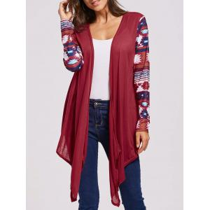 Collarless Long Sleeve Open Front Graphic Cardigan - Red - Xl