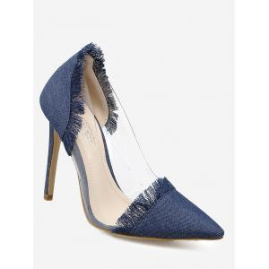 Fringe Stiletto Heel Denim Pumps - Deep Blue - 38