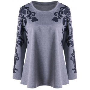 Raglan Sleeve Plus Size Print Top