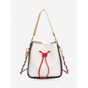 Drawstring Color Block Bucket Bag - Off-white - 37