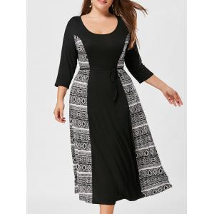 Print Panel Plus Size Shift Midi Dress - Black White - 4xl