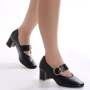 Square Toe Mary Jane Pumps - BLACK 37