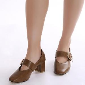 Square Toe Mary Jane Pumps - BROWN 39