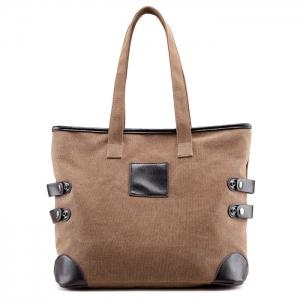 Button Casual Canvas Shoulder Bag - Brown
