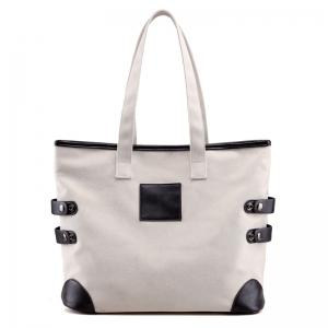 Button Casual Canvas Shoulder Bag - Off-white - 39