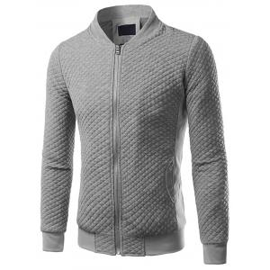 Rhombus Embossing Zip Up Jacket