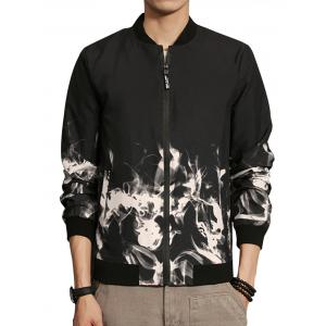 Flame Print Zip Up Bomber Jacket