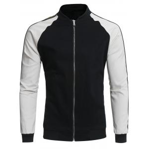 Color Block Panel Raglan Sleeve Baseball Jacket