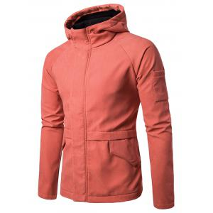 High Neck Faux Suede Hooded Jacket