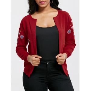 Ribbed Embroidered Cardigan - Red - One Size