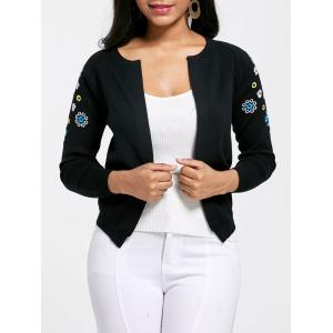 Ribbed Embroidered Cardigan