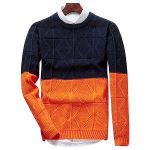 Two Tone Crew Neck Diamond Sweater