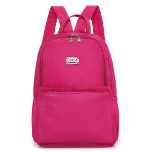Zippers Double Pocket Nylon Backpack - Rose Red - 39