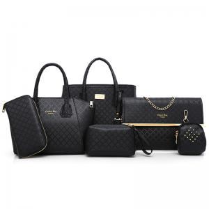 Argyle Pattern 6 Pieces Handbag Set - Black