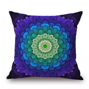 Floral Mandala Decorative Linen Sofa Pillowcase - Blue - W17.5 Inch * L17.5 Inch