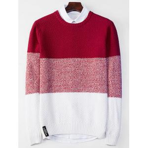 Crew Neck Popcorn Knitted Color Block Sweater