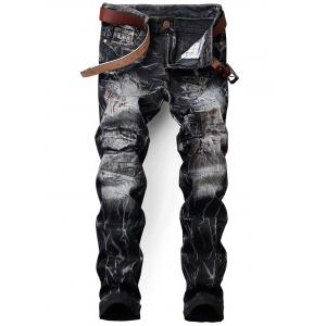 Tie Dye Applique Design Jeans - Black - 32